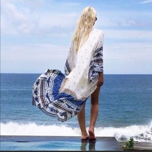 Other - Long White Peach Blue Sheer Beach Coverup Kimono